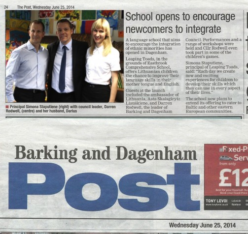Article in Barking and Dagenham Post